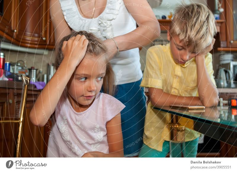 mother combs her daughter hair and braids it while boy in yellow shirt communicates via video link on mobile phone at home care caucasian cellphone child