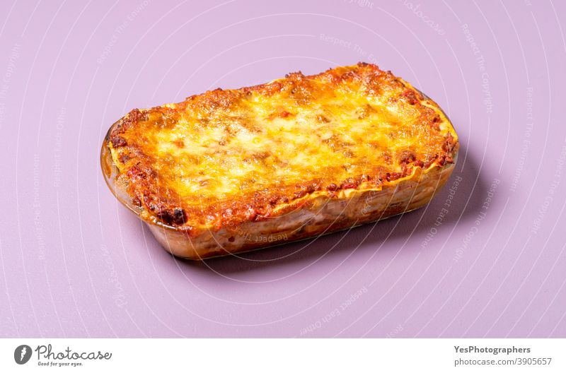 Lasagna casserole with meat and melted cheese. Homemade Italian food appetizing beef carbs comfort food cuisine cut out delicious dinner freshly-baked gourmet