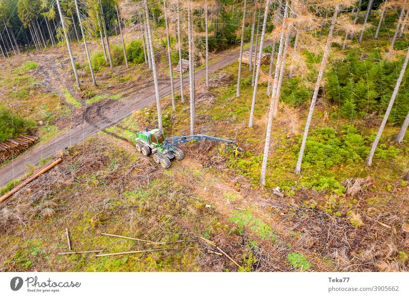 The harvester from above Autumn Winter Wood logging Nature modern machine Machinery trees