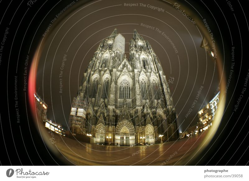 Cologne Cathedral (frontal I) Religion and faith Night Illuminate House of worship Fisheye
