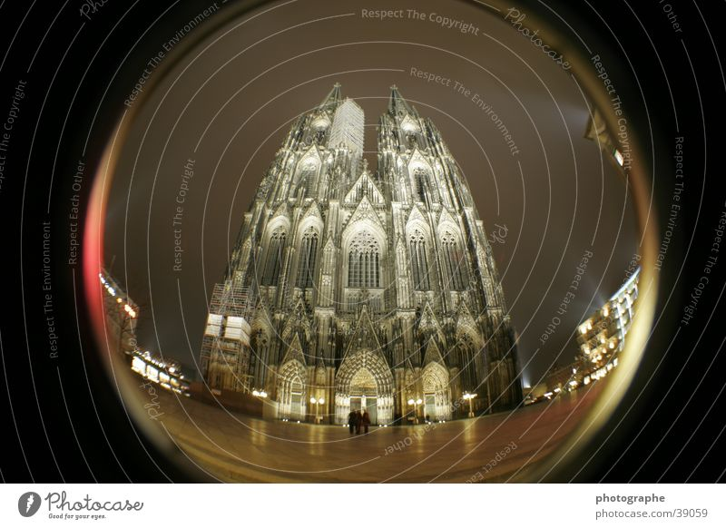 Cologne Cathedral (frontal II) Religion and faith Night Illuminate House of worship Fisheye