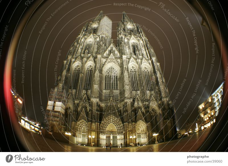 Cologne Cathedral (frontal III) Religion and faith Night Illuminate House of worship Fisheye