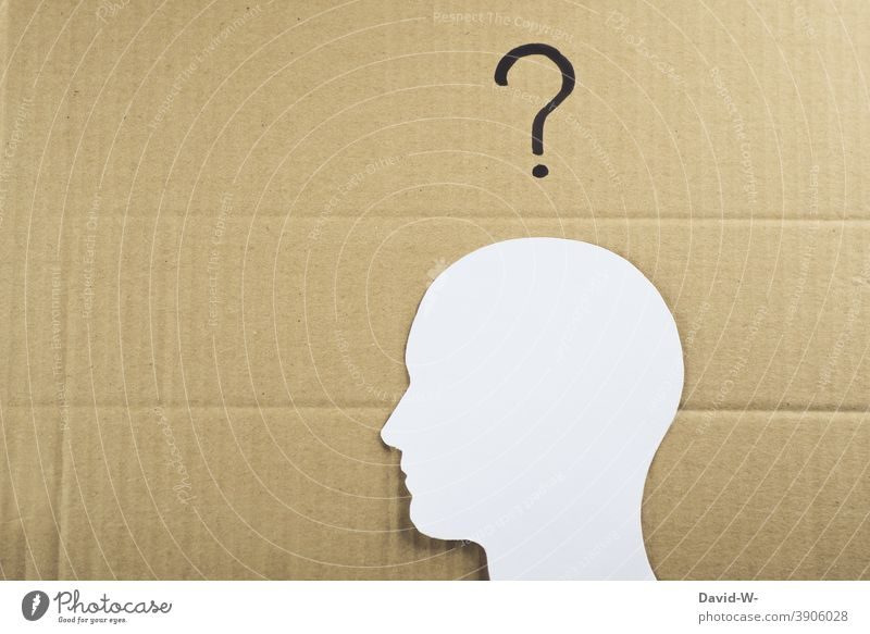 Man with a question mark over his head Head ? Question mark Drawing concept Ask Collage Think disorientation insecurity Human being thoughts