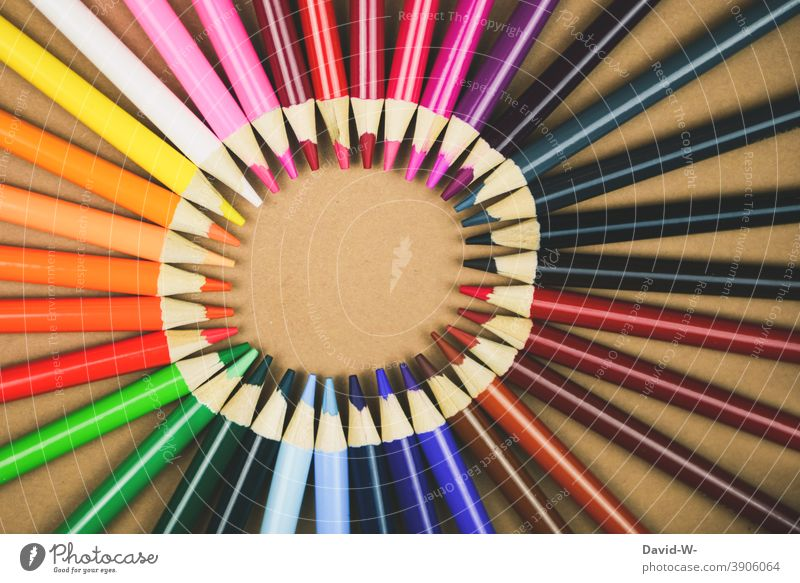 Crayons make a circle with text space pens crayons Art Placeholder Copy Space manner School kita Education variegated Painting (action, artwork)