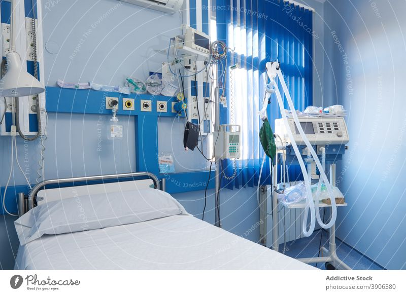 Hospital ward with modern equipment hospital bed electronic supply medicine medical interior empty room clinic contemporary health care professional device