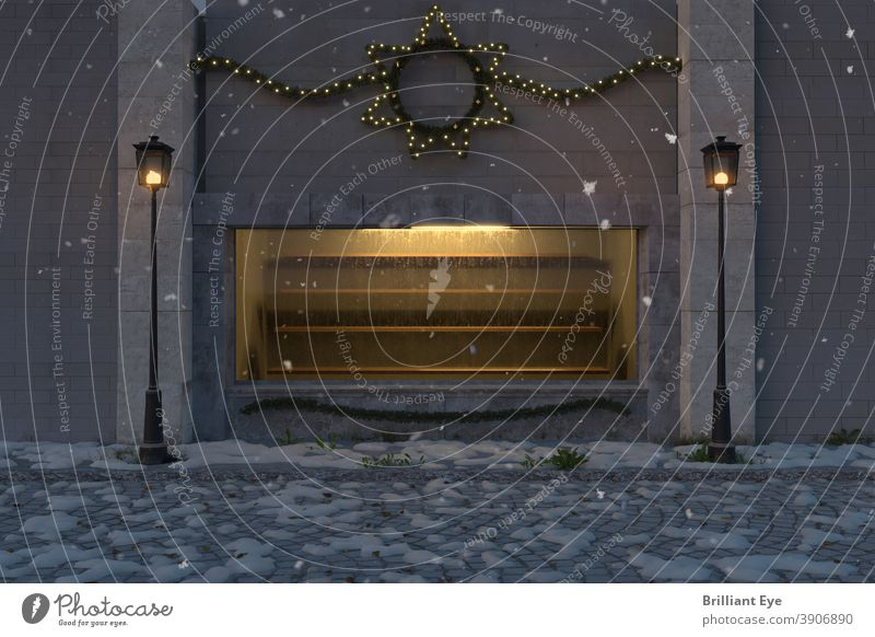 yellow illuminated shop window with empty shelves and outside decorated with christmas lights 3D forsake sb./sth. Alley Ancient Architecture background Building