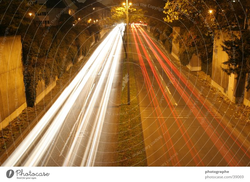 Here and there Long exposure Stripe Night Town Cologne White Red Light Car Street