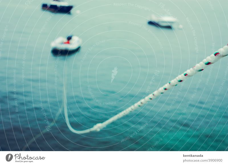 Close Up of a line, boats and water Rope Water Ocean Landscape Blue travel coast Outdoors vacation Bay pretty Summer bank seascape Picturesque coastline Europe