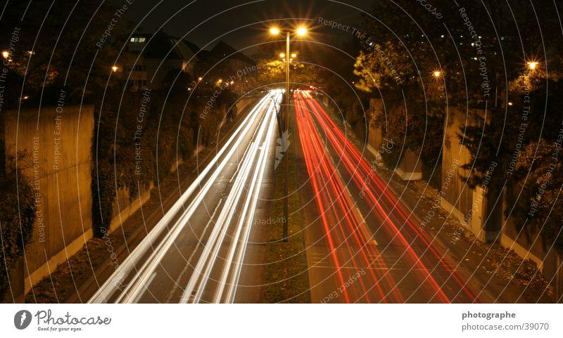 White versus Red Long exposure Stripe Night Town Cologne Light Car Street