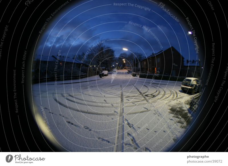 Winter Snow Village Distorted Fisheye
