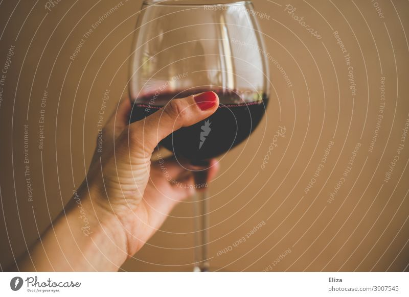 Female hand holding a glass of red wine Red wine Glass Alcoholic drinks Vine Hand Cheers Drinking Wine glass Alcohol consumption Woman Neutral Background