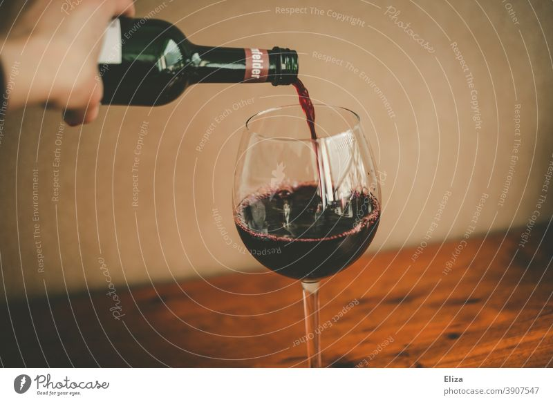 Person pours red wine from a bottle into a wine glass Red wine Bottle Cast Vine Wine glass Glass Alcoholic drinks Drinking alcohol consumption Bottle of wine