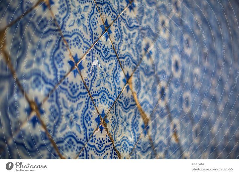 Wall tiles - blue white tiles pattern Wall (building) wall tiles Pattern pattern mix Blue White Portugal Lisbon wall pattern