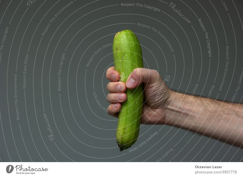 Caucasian male hand holding a phallic piece of fresh green ripe zucchini close up shot isolated on gray meal caucasian squash vegan studio nutrient dieting