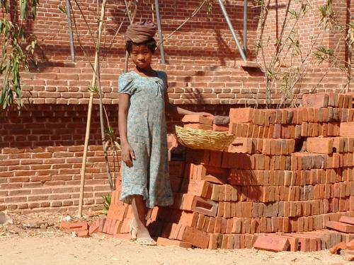 child labour Child employment Myanmar Woman temple structure military dictatorship Brick Brickyard Construction site Poverty Barefoot Brick wall Simple Inequity