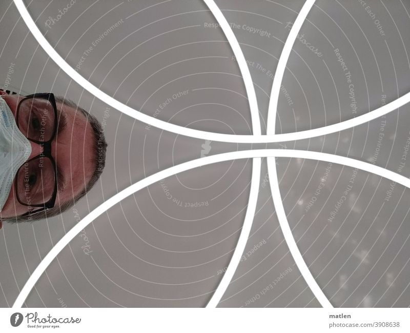 Hopeless Head Man Mask Eyeglasses Futile Blanket ceiling light Face Adults Looking Looking into the camera