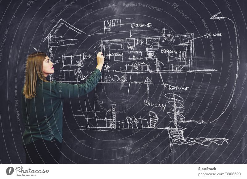 Architect woman sketching new project on chalkboard. blackboard architect architectures drawing business work hipster workplace office meeting construction