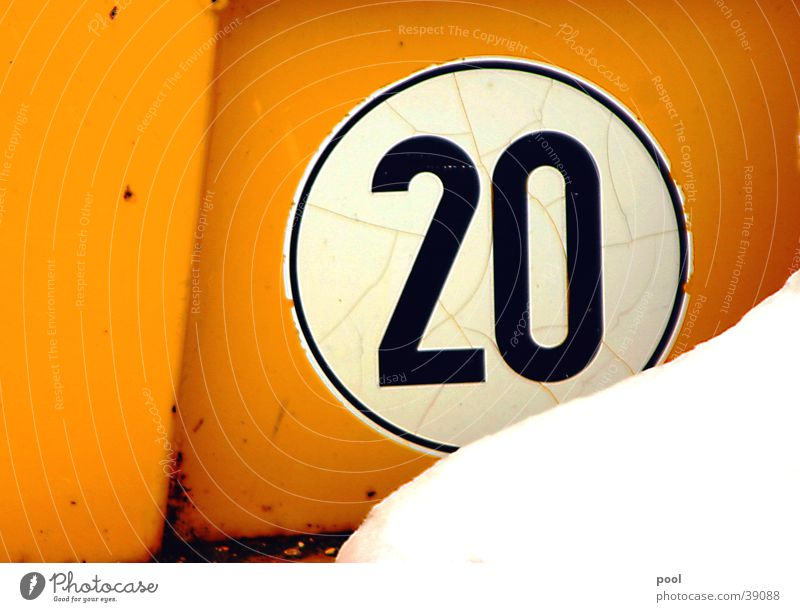 """twenty"" 20 Digits and numbers Machinery Yellow Crane Construction machinery Transport Speed Black Road traffic Industry Signs and labeling"