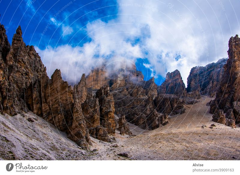clouds and Dolomite peaks two nature landscape sky italy view travel mountain dolomites alps alpine hiking cortina valley europe summer panorama tourism outdoor