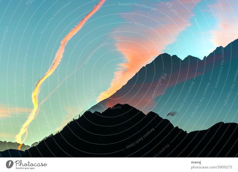Dreams, wishes and illusions Double exposure Alps Mountain Illuminate Surprise Joie de vivre (Vitality) Moody Sunrise Sunset Uniqueness Bizarre