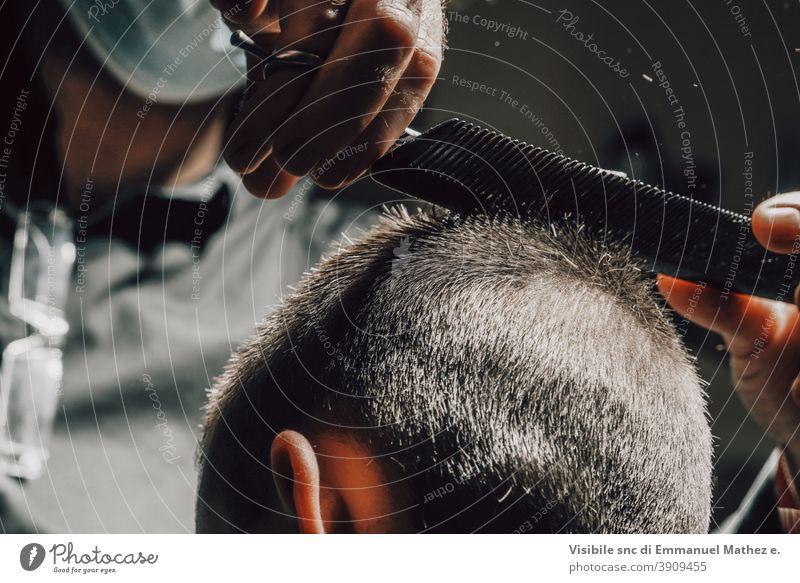 boy short haircut scissors comb skills hairdresser mask covid social distancing safe