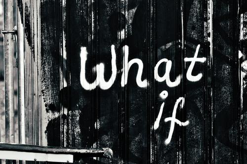 what if, what if... Building fence, boards, a piece of railing Graffiti Wall (building) Street art Deserted Exterior shot graffiti Hoarding Black White