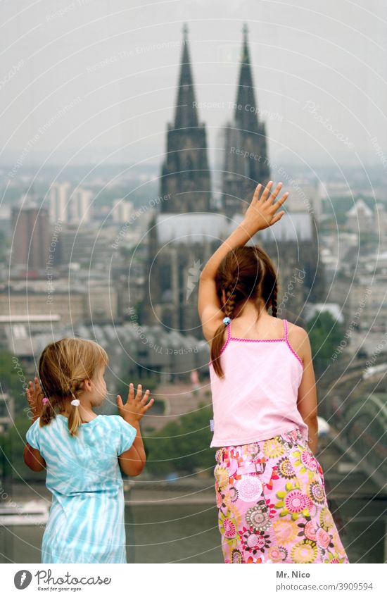 Cologne girl Religion and faith Panorama (View) Girl Church Skyline Cologne Cathedral Tourist Attraction Manmade structures Landmark Lookout tower Vantage point