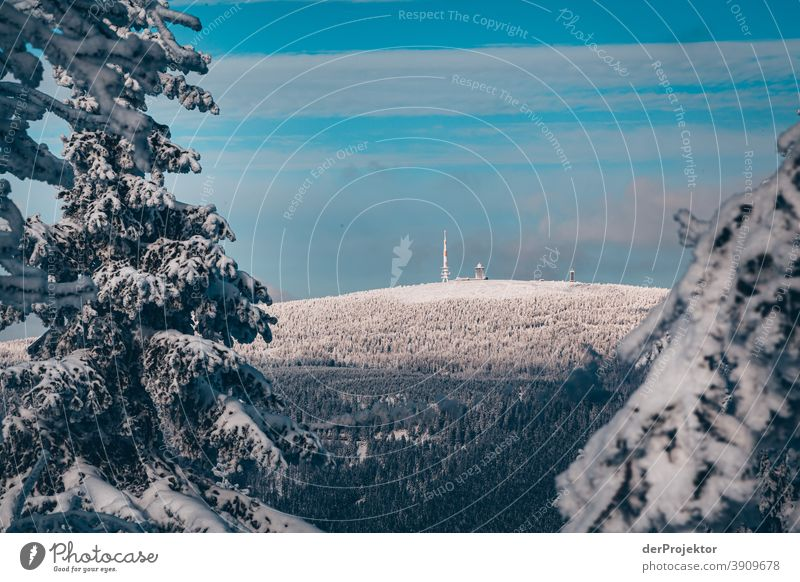View of the snow-covered Brocken Joerg farys National Park nature conservation Lower Saxony Winter Harz Experiencing nature Nature reserve Miracle of Nature