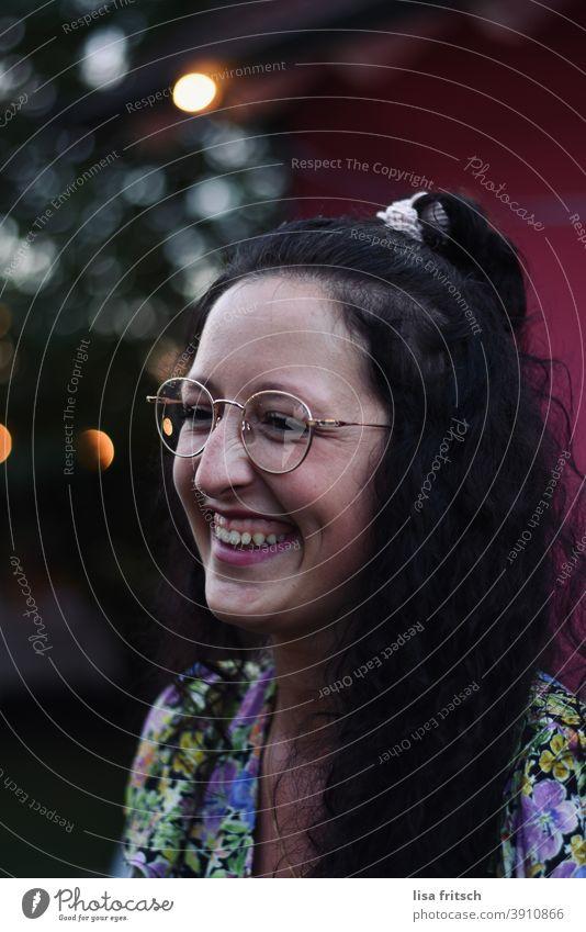 WOMAN - GLASSES - PRETTY Woman Curl Brunette Eyeglasses Braids Summer Laughter fortunate Brilliant Contentment Happy Joie de vivre (Vitality) Young woman