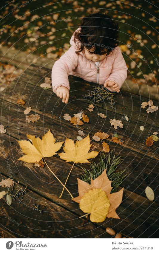 Cute child girl playing with autumn leaves Child childhood Caucasian 1 - 3 years Girl Autumn Authentic Autumnal Autumn leaves Autumnal colours fall Infancy