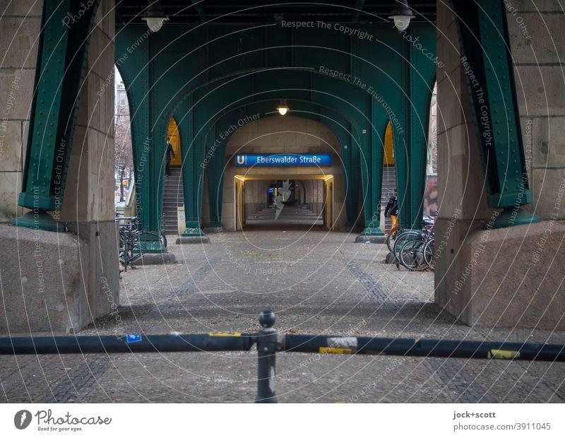 U-Eberswalder Straße, way to the station Eberswalder Street Schönhauser Allee Mono rail Steel carrier Protection Passage Architecture Underpass Lanes & trails