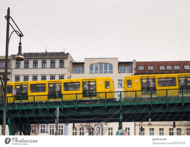 beautiful elevated railway in the direction of Mitte Schönhauser Allee Public transit Traffic infrastructure Means of transport Prenzlauer Berg Rail transport