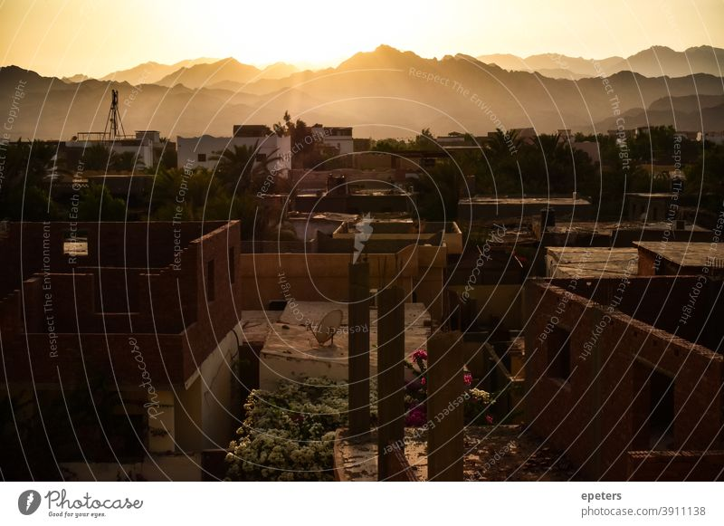 View over Dahab, South Sinai, Egypt inland to the mountains Sinai peninsula North Africa Sunset unfinished Architecture Light Soft romantic under construction