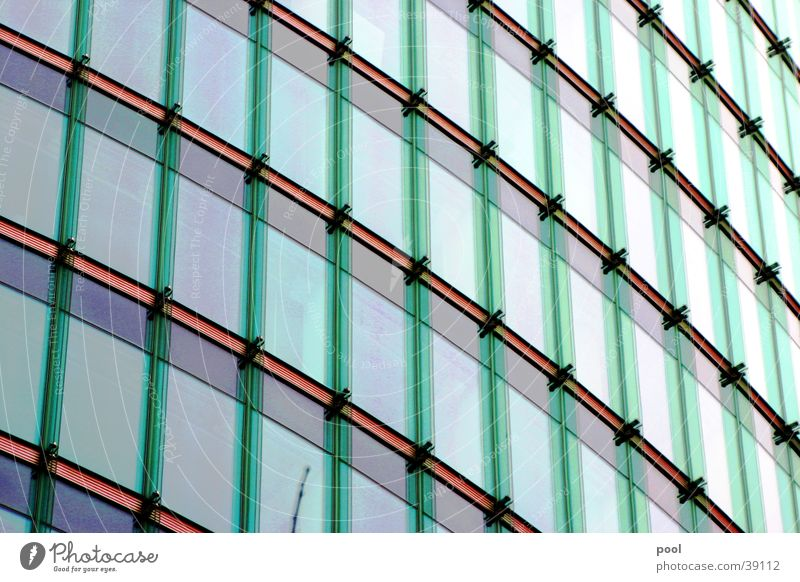 Glass facade Facade Glas facade High-rise Building Reflection Green House (Residential Structure) Window Far-off places Architecture Line Colour Modern tele