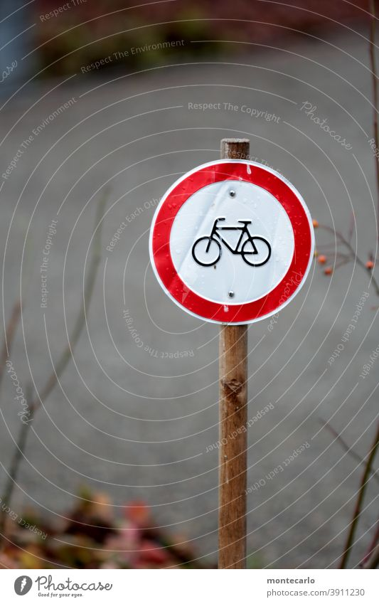 Prohibition sign for bicycles in miniature StVO Sign Bicycle Road sign Signs and labeling Traffic Rules symbolism symbolic Bans Warning sign Signage Red