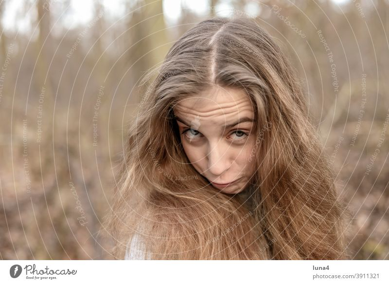 cheerful girl with long hair Girl Brash Youth (Young adults) Impish high-spirited Funny Laughter Rebellious Grimace facial expression Provocative relaxed