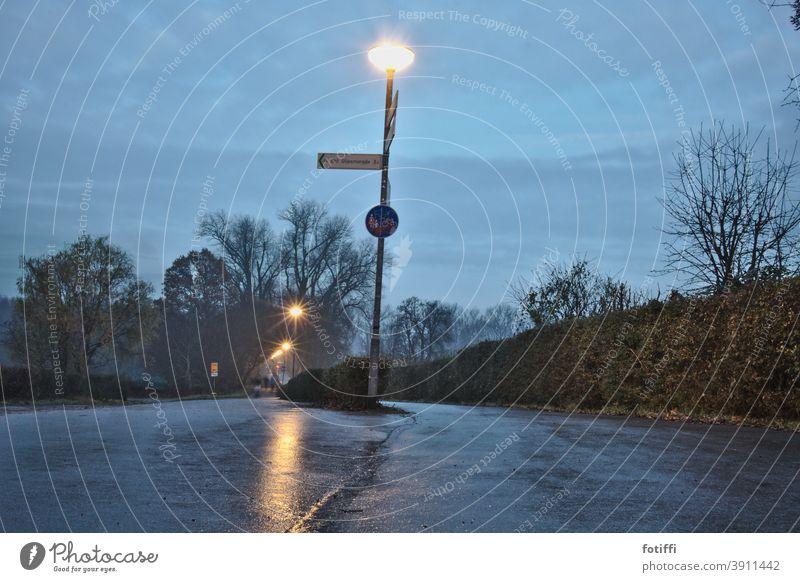 parting ways by night Night Lanes & trails fork Tar cycle path Footpath Asphalt Deserted Flare wet asphalt Exterior shot Lantern silent Gray lit