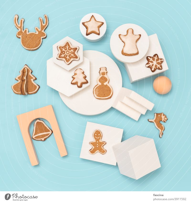 Cristmas gingerbread cookies canvas, copy space christmas baking flat lay christmas cooking blue background ornament pastel empty top beige top view top down