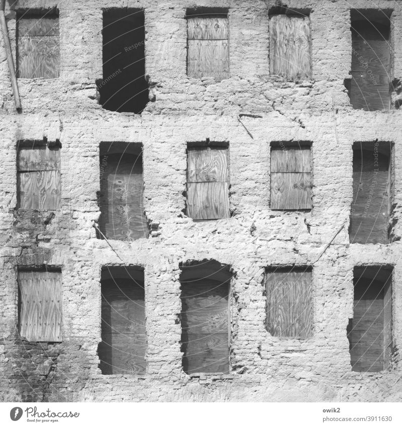 wall remains House (Residential Structure) Old Ruin Window Cavities Niches Decline Broken Building Wall (barrier) Wall (building) Transience Deserted Facade