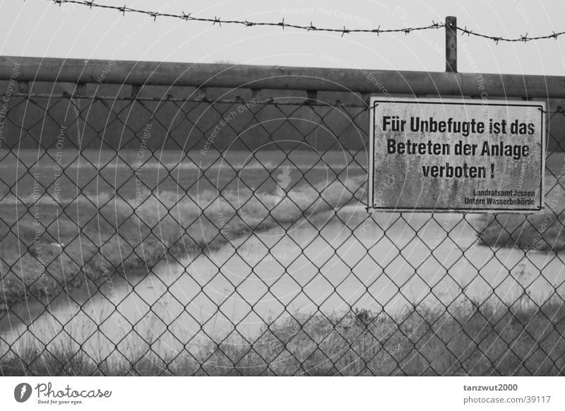 Trespassing forbidden! Bans Lake Fence Barbed wire Landscape Freedom