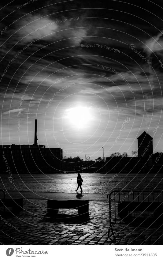 Woman in light goes for a walk Silhouette stroll Nature Exterior shot To go for a walk Adults Shadow Dark Back-light Minimalistic Human being Going