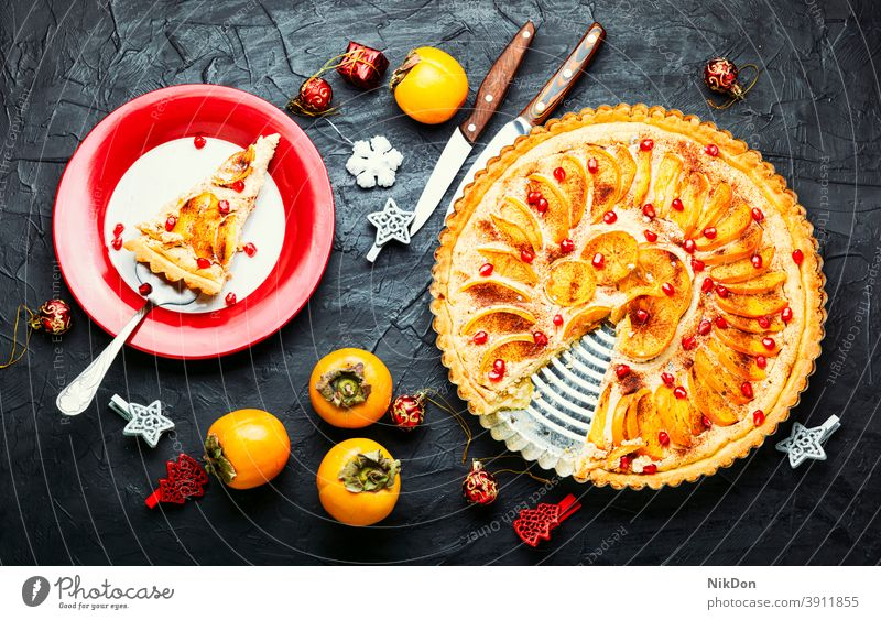 Christmas fruit tart persimmon pie cake christmas cake persimmon cake xmas new year christmas dessert food sweet delicious cheesecake pastry fresh
