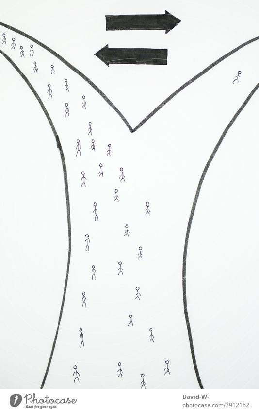 loner Success Independence stand-alone concept Stick figure Outsider people differently person Lanes & trails Direction Decide