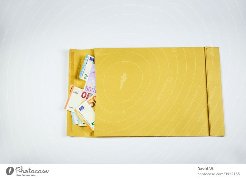 Envelope with money Envelope (Mail) Money Donation Euro Bank note finance Success Anonymous Gift