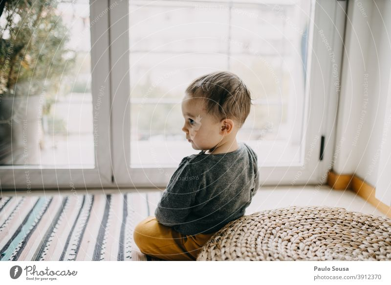 Toddler portrait Portrait photograph Child childhood Window Cute Authentic Lifestyle at home Playing Human being Happiness Happy Caucasian Infancy