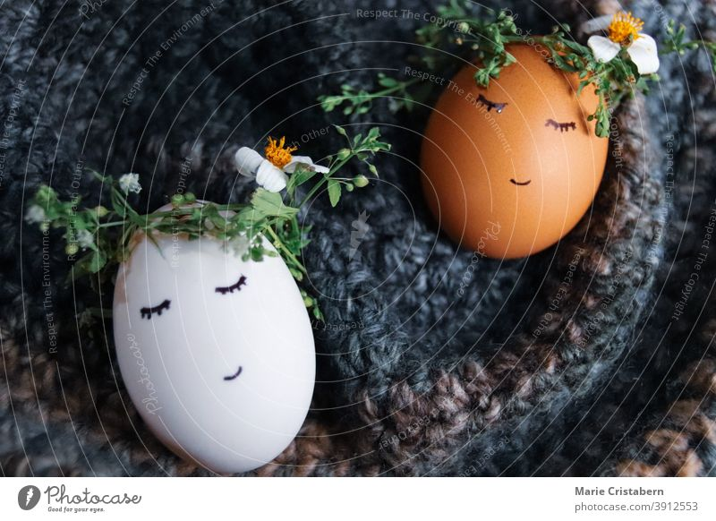 Cute eggs wearing flower crowns with drawn faces as decoration for Easter and the coming of Spring easter decoration easter eggs spring season cute easter eggs