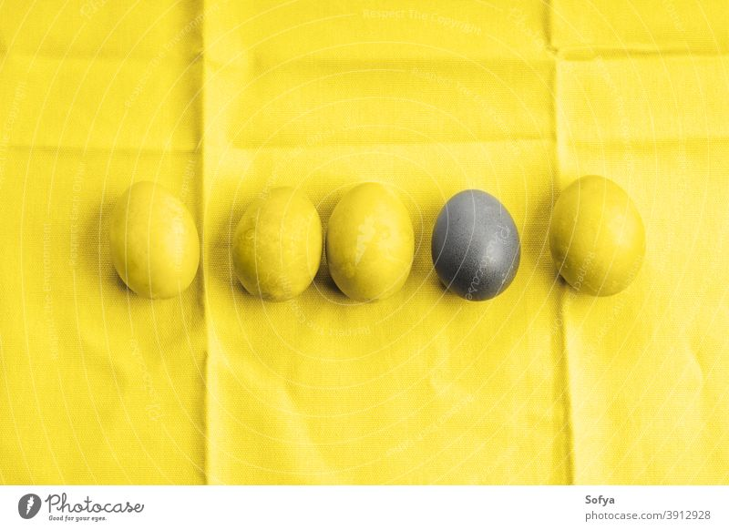 Easter illuminating yellow and ultimate gray eggs easter grey color year holiday spring different outstanding design unique food hen flat lay winner background