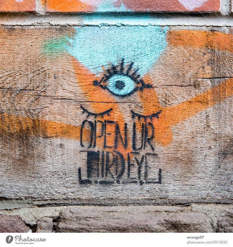 Recommendation | Open your third eye topic day Graffito THIRD EYE Deserted Colour photo Exterior shot Day Wall (building) Characters Graffiti Wall (barrier)