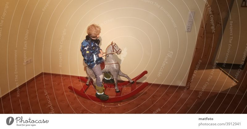 ...rediscovering the old. Rocking Horse, Child, Swing Joy Human being To swing Colour photo Infancy Happy Movement Happiness
