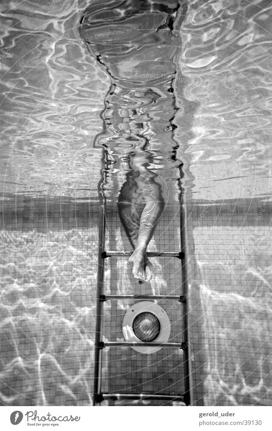 Feet in water Swimming pool Underwater photo Woman Summer Water Stairs Black & white photo Swimming & Bathing
